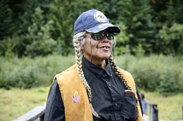 Hubert Jim in Sutikalh for the resistance of natives against the project of a skiing plant in the Ucwalmicw indian reserve. British Columbia, Canada
