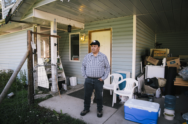 the native Gerald Gabriel and his house, Lake Andersen, British Columbia, Canada