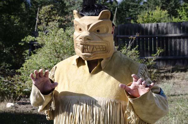 the native Gerald Gabriel in indian N'quatqua traditional costume, Lake Andersen, British Columbia, Canada